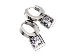 Quadrat orbit earrings steel